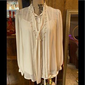 Vintage Banana Republic off white sheer blouse